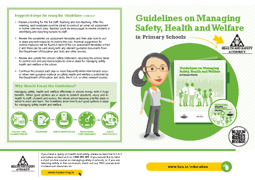 Guidelines on Managing Safety, Health and Welfare in Primary Schools Flyer front page preview