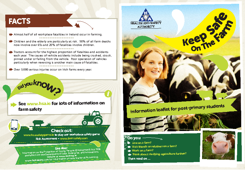 Keep Safe on the Farm Information Leaflet for Post-Primary Students front page preview