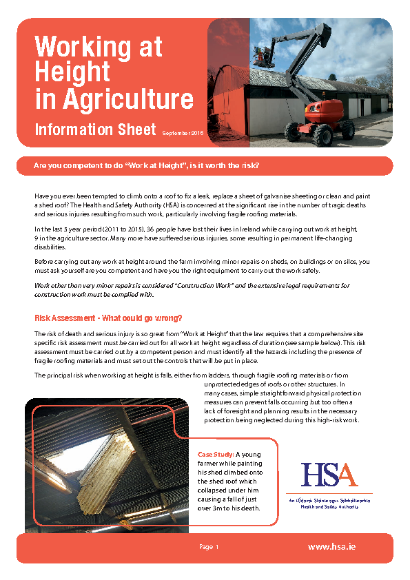 Working at Height in Agriculture - Info Sheet front page preview