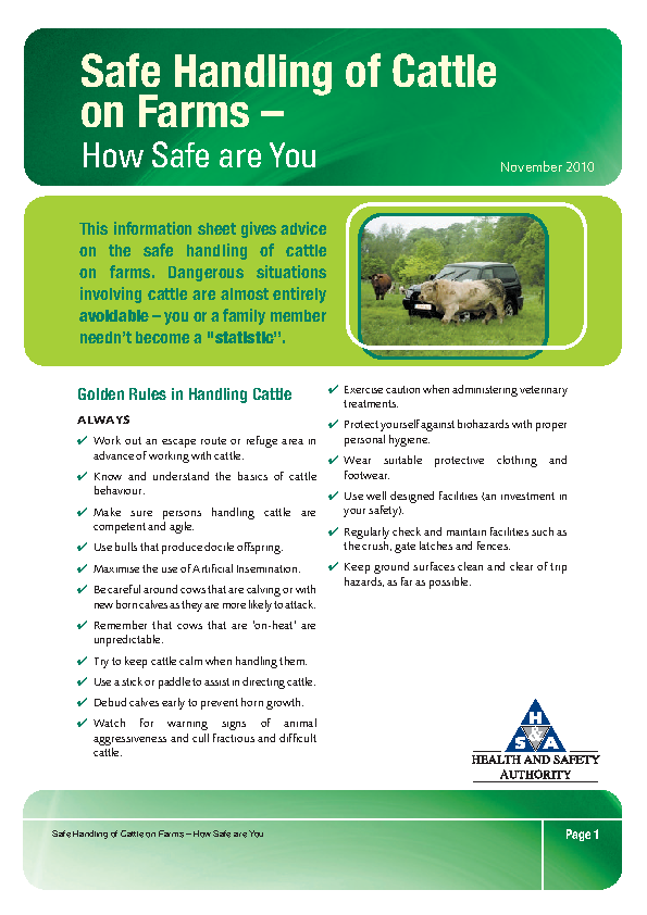 Safe Handling of Cattle on Farms Information Sheet front page preview