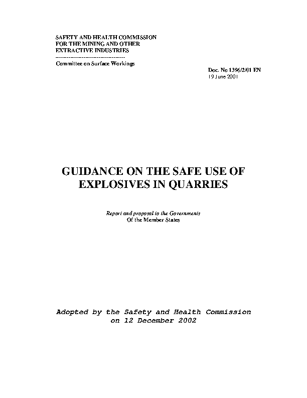 Guidance on the Safe Use of Explosives in Quarries front page preview