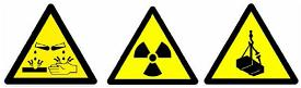 Examples of yellow triangular warning signs including a Radioactivity warning sign