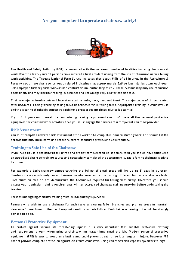 Chainsaws Safety Advice front page preview