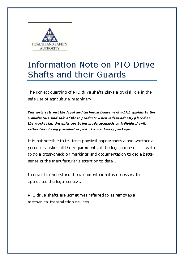 Information Note on PTO Drive Shafts and their Guards front page preview