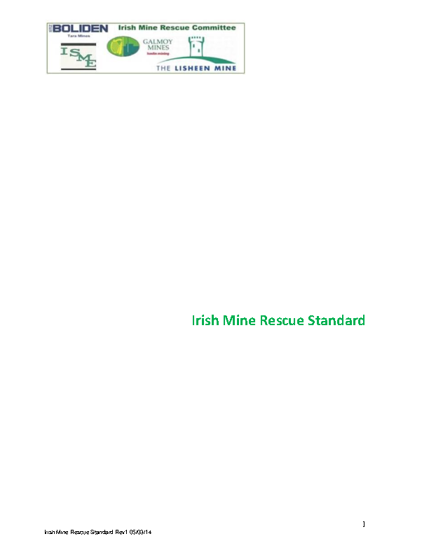 Irish Mine Rescue Standard front page preview