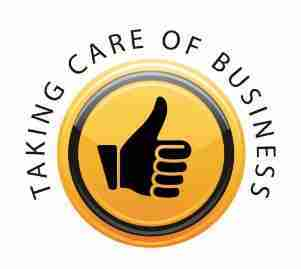 Taking Care of Business White Logo
