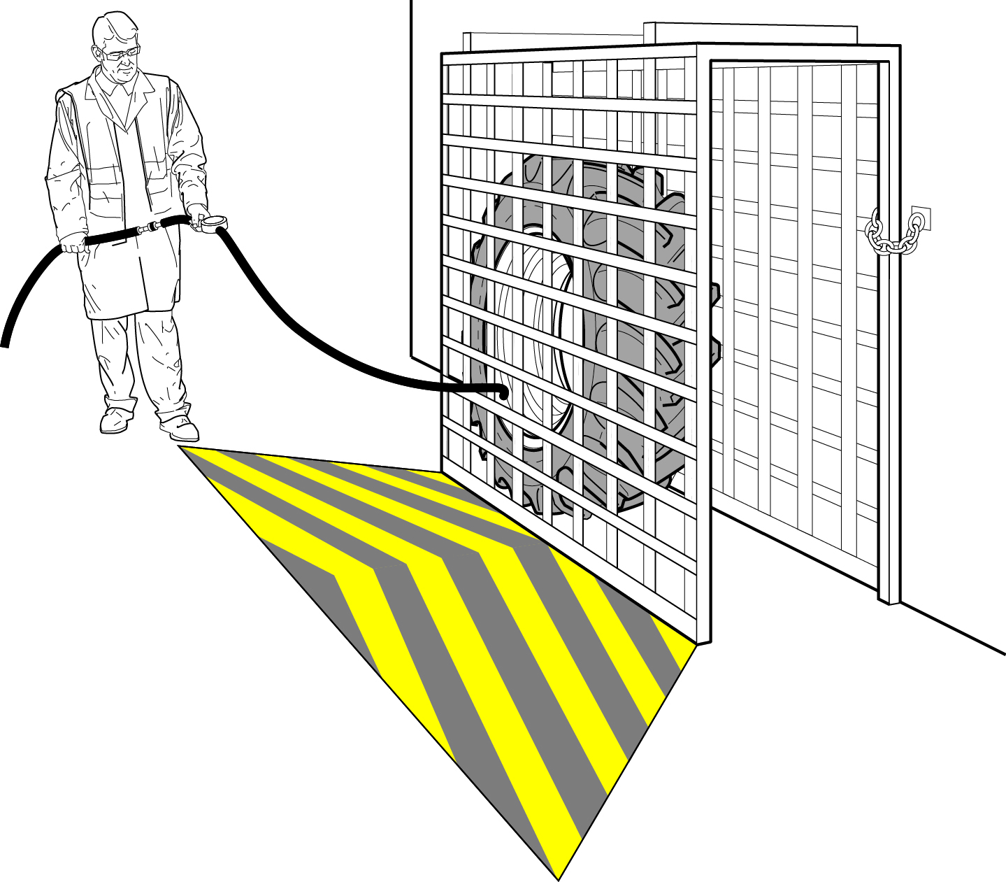 Picture of secure cage for inflating large tyres