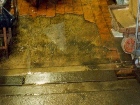 Damaged flooring paving