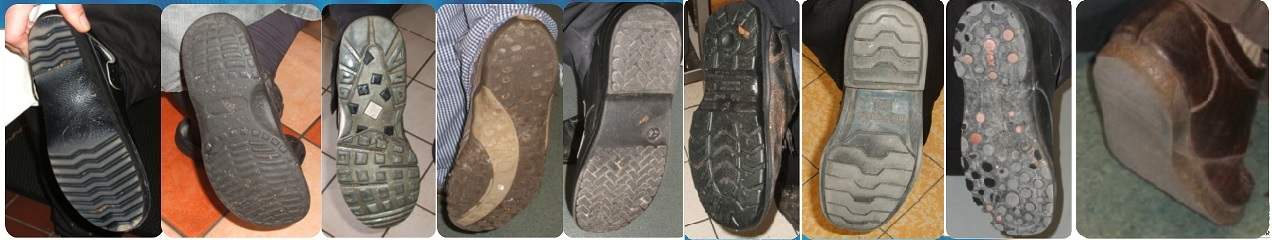 Check soles of footwear