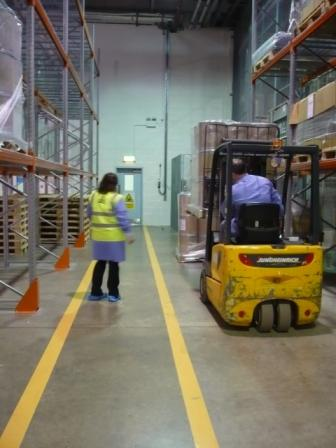 Pedestrian and forklift truck