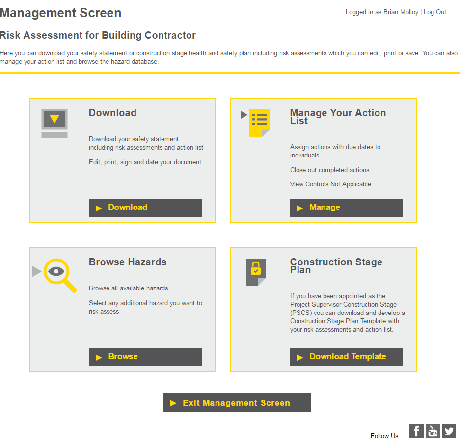 management screen