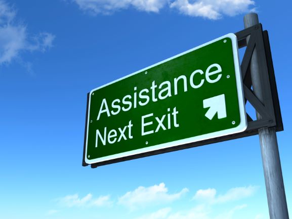Assistance Next Exit Sign